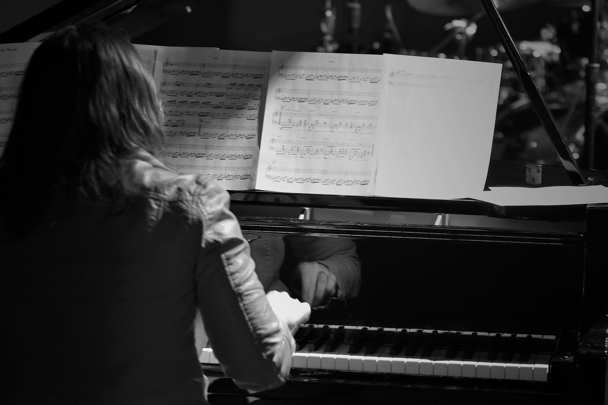 Amy at the Piano in Black and White