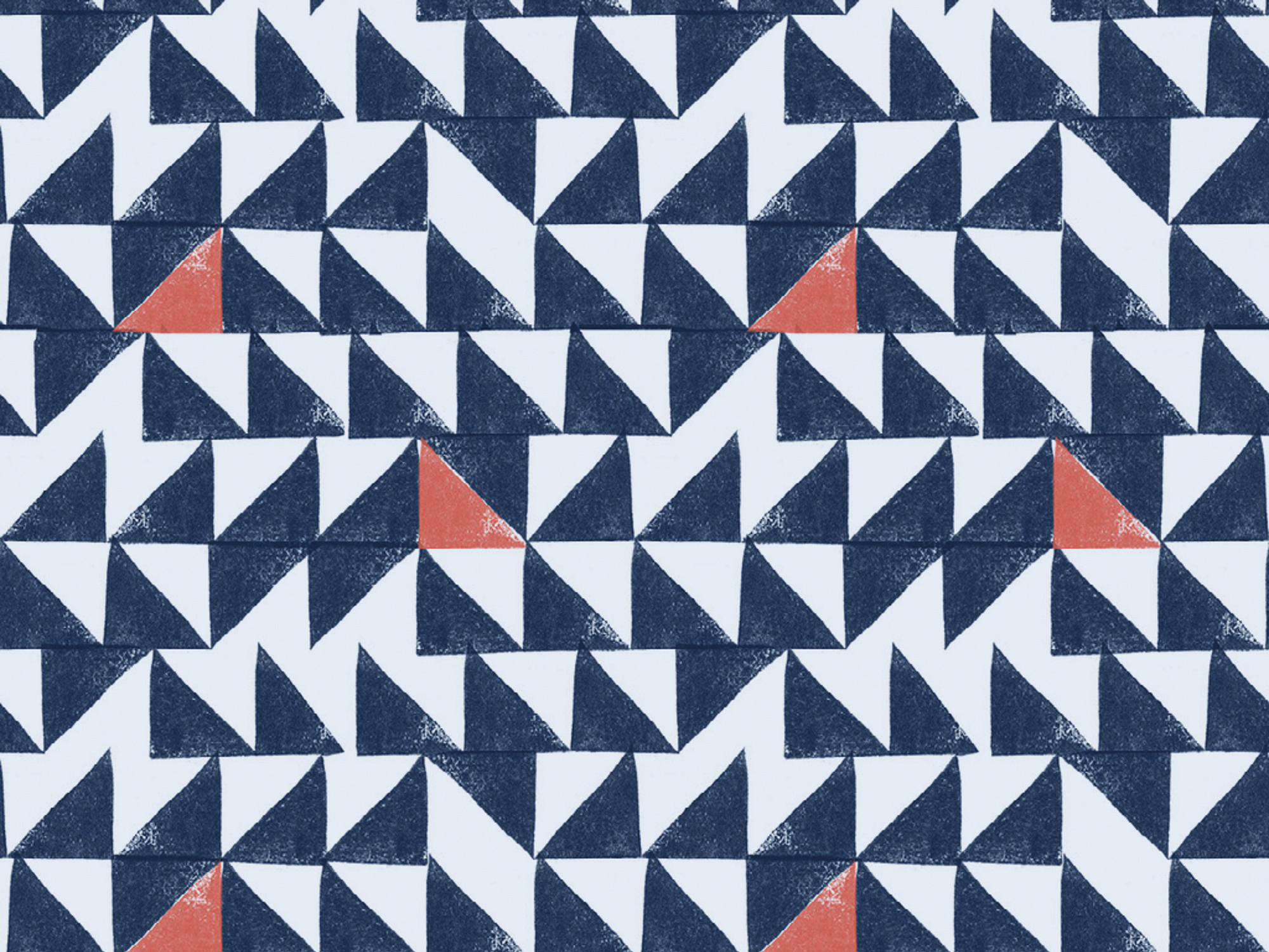 AmyAna Cover art, white, dark blue, and red-orange triangles in a random pattern.